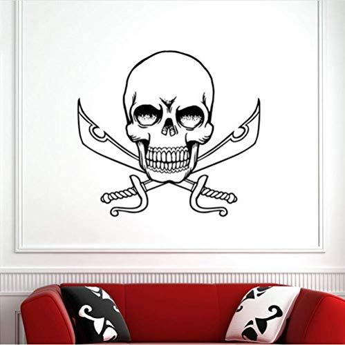 Muursticker schedel halloween zwaarden sticker sticker sticker sticker duivel poster naam auto raam kunst muurstickers decoratie muurschildering 80x88cm