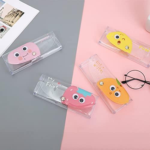 XKMY Estuche para gafas, 1 pieza de dibujos animados, cactus, vaca, margarita, fruta, transparente, mate, para estudiantes, gafas de miopía, estuche de PVC, para gafas de sol para mujer (color 4)