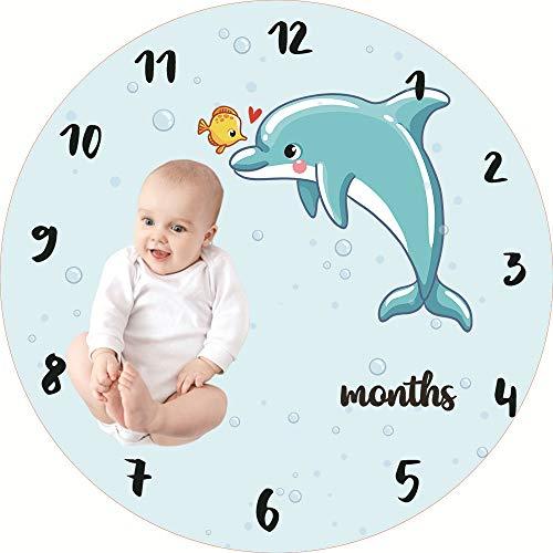YAOXI Redondo Bebé Manta De Hito, Acogedor Manta Mensual para Bebé Recién Nacido Regalo Bebé Ducha Manta De Hito Personalizado Bebé Manta De Cama,D