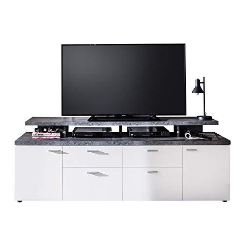trendteam smart living Wohnzimmer Lowboard Fernsehschrank Fernsehtisch Mood Media, 180 x 66 x 47 cm in Front Weiß Melamin, Korpus Melamin Stone dunkel mit viel Stauraum