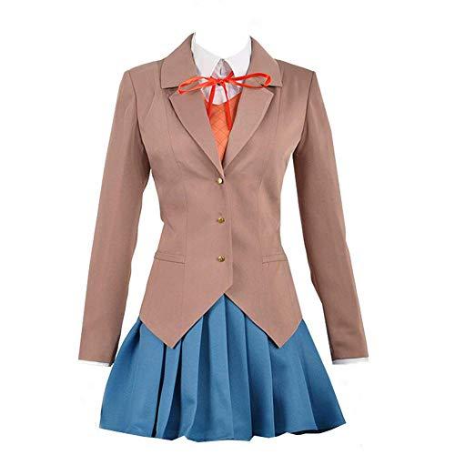 Xiao Maomi Monika Sayori Yuri Natsuki Uniform Shoes Cosplay Costume Women Sailor Suit Outfit Full Set (L, Blue)