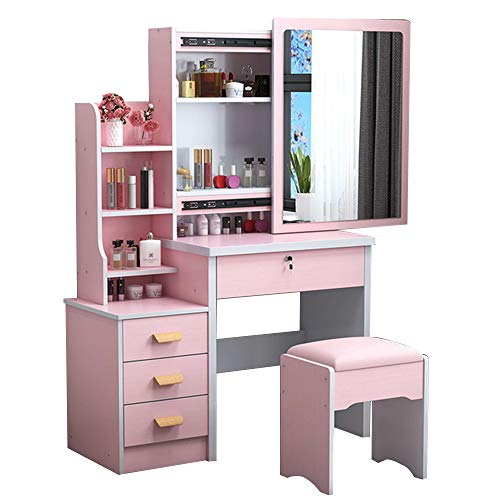 GRXXX Dressing Table, Small Apartment, Modern and Simple Multifunctional Household Dressing Table, Bedroom Storage Cabinet Integrated Dressing Table, 80Cm, 5 Colors,Pink