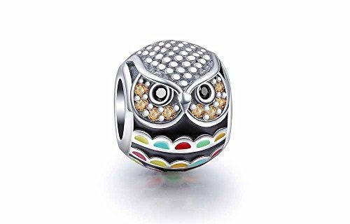 Búho esmaltado de plata de ley 925 compatible con pulseras Pandora, Swarovski