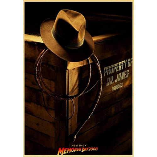 No Vintage Classic Movie Indiana Jones Poster and Prints Wall Art Canvas Painting Cuadros De Pared para Sala De Estar Decoración para El Hogar 50X70Cm Sin Marco