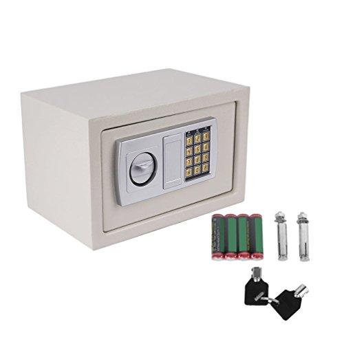 Elektronischer Tresor Safe, Elektronische Sicher Tresor mit Zahlenschloss Feuerfest Safe Tresor Wandtresor 31x20x20cm mit 4 Batterien - Weiß