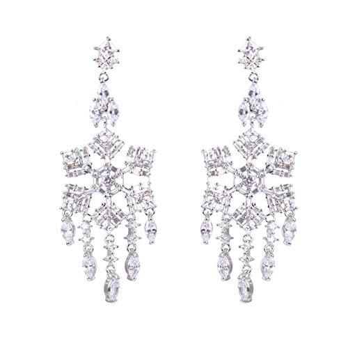 BAJIE Earring Snowflake Tassel Drop Earrings Shop Aaa Cz Stone Luxury Earrings Ladies Brass Earrings