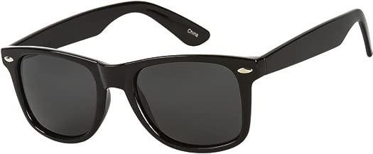 MLC Eyewear Black Frame Polarized Retro Horned Rim Style Sunglasses