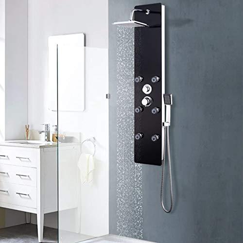 vidaXL Duschpaneel Regendusche Duscharmatur Dusche Glas 25×44,6×130 cm Schwarz