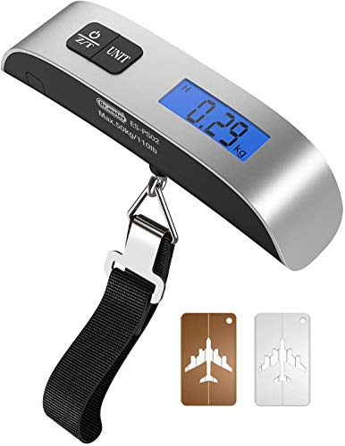 Dr.meter Luggage Scale with Luggage Tags Portable Digital Travel Suitcase Scales with Temperature Sensor, Tare Function, 110lb/50kg Electronic Balance Digital Luggage Hanging Scale, Battery Included