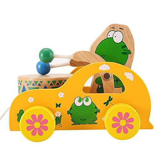 Juguete de arrastre de animales, juguete de arrastre de madera, coche de juguete de madera para bebé, carrito de tambor de animales de dibujos animados con cuerda larga,(frog)