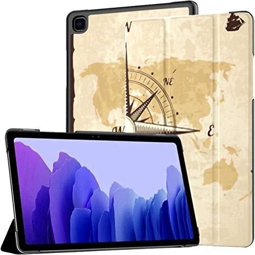 Hülle für Samsung Galaxy Tab A7 10,4-Zoll-Tablet 2020 (sm-t500 / t505 / t507), Vintage Nautical Compass Alte Weltkarte Mehrwinkel-Standabdeckung mit Auto Wake/Sleep