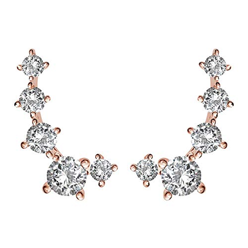 PAVOI 14K Rose Gold Plated Cubic Zirconia Ear Crawler | Cuff Earrings | Hypoallergenic Stud Ear Climber Jackets