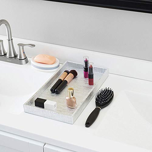 Home Basics Vanity Tray for Makeup, Jewelry, Perfume, Cosmetics Storage, Bathroom Organizer (Horizontal, Metallic Weave)