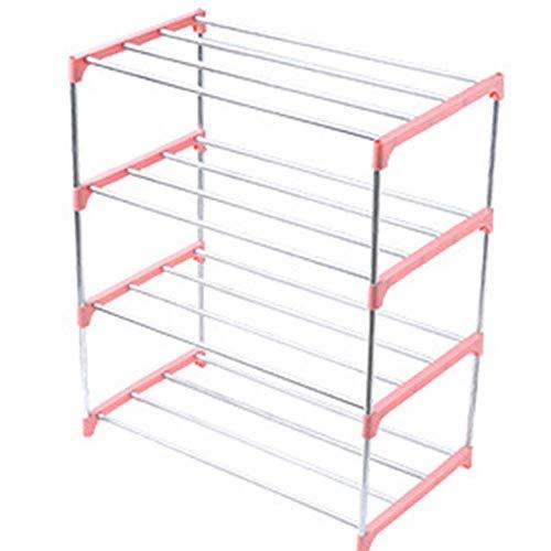 AROYEL Zapatero organizador de almacenamiento de 3 niveles/4 niveles, estante apilable duradero, organizador de zapatos para ahorrar espacio duradero (rosa, 4 niveles)