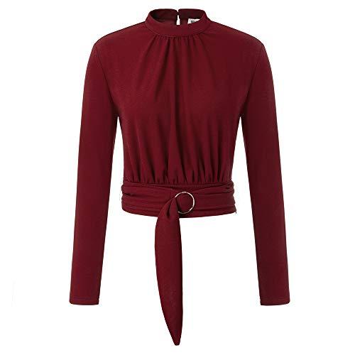 Grace Karin Damesbovenstuk, lange mouwen, opstaande kraag, cropped tops, geplooid, hoge stretchy, herfst, casual blouse met riem