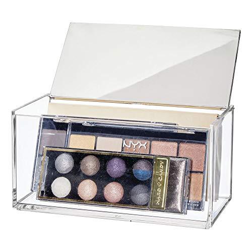 mDesign Caja de maquillaje grande con espejo – Organizador de cosméticos para baño y tocador – Cajas de plástico...