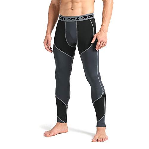 AMZSPORT Pantacollant Compressione da Uomo Calzamaglia da Compressione Collant Pantaloni Sportivi Grigio M