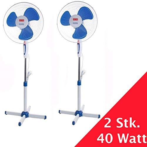 Standventilator 45 Watt Ventilator Klima Lüfter Klimagerät Windmaschine NEU (2 Stk, weiß/blau)