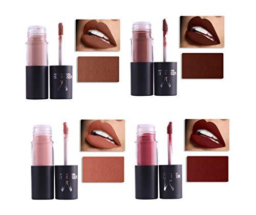 4 Colors Lip Glosses Set, Natural Liquid Matte Lipstick, Non-Stick Cup Moisturize and Long Lasting Make Up Lip Gloss, Waterproof Lipgloss (#9,#10,#11,#12)