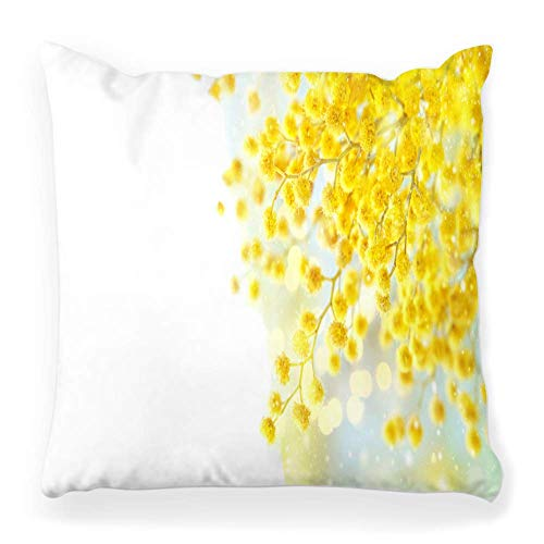 Fendy-Shop Soft Square Pillow Cover 20 x 20 Inch Spring Mimosa White Season March Day Flower Yellow April Atmosphere Beautiful Blossom Home