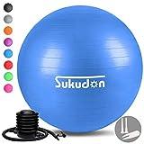 Sukudon バランスボール 45/55/65/75CM (八色) 厚い 重量増加 ヨガボール 滑り止め 環境に優しい 耐荷重800KG フィットネス エクササイズ ダイエット器具 椅子 日本語説明書付き(ブルー65)
