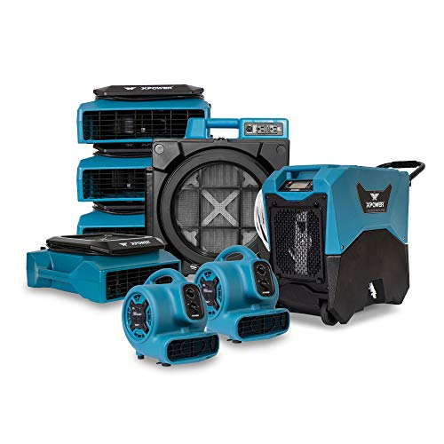 Water Damage Repair&Restoration Technician Equipment Mold Remediation Package-Includes(Stackable LGR Dehumidifier,Low Profile Fans,Air Scrubber,P-230AT Mini Air Movers)Plumbers,Contractors Use-Blue