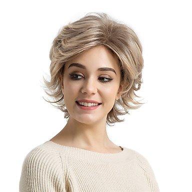 Js-Wigs Perruque synthétique ondulée naturelle avec frange Cheveux synthétiques Marron Perruque courte Naturelle sans capuchon