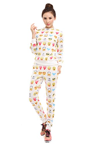 Surenow dames sweatshirt pullover gamassen broek 3D emoticon