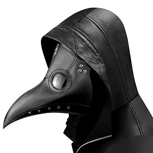 Arespark Doctor de la Peste Máscara, Nariz Larga Steampunk Pico de Pájaro Disfraces de Halloween Máscaras, Gótico Cosplay Máscaras Halloween de Rock (Negro)