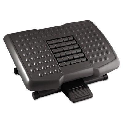 KANTEK INC.Premium Adjustable Footrest with Rollers, Plastic, 18w x 13d x 4h, Black (2 Pack)