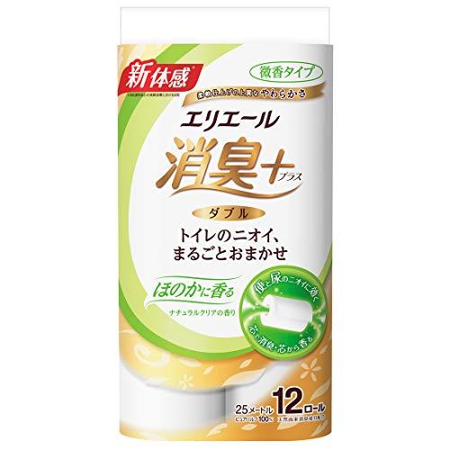エリエール トイレットペーパー 消臭プラス(+) 25m×12ロール ダブル パルプ100% ほのかに香る ナチュラルクリアの香り 12R(ダブル)