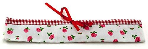 Ringelsuse Etui Rangement pour brosses à Dents Fleurs et Diamant Coton Blanc et Rouge avec paroi intérieure en Plastique 20 x 3,5 cm