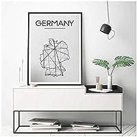 ドイツ地図プリント壁アートポスター抽象ドイツ地図ポスターミニマリストのキャンバス絵画リビングルームの家の装飾-50×70センチフレームなし