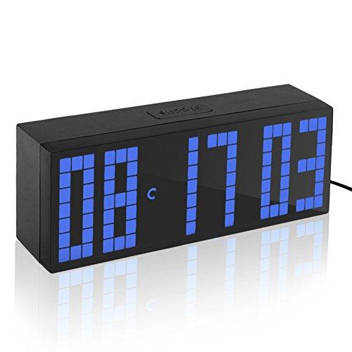 Yosoo Alarma Big Time Relojes LED Digital/Cuenta atrás/adelante Reloj con el Controlador Remoto (Azul)