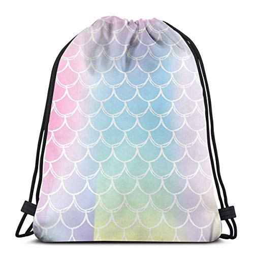 XCNGG Gradient Mermaid Background With Holographic Scales Drawstring Backpack Sport Bags Cinch Tote Bags For Traveling And Storage For Men And Women 17X14 Inch