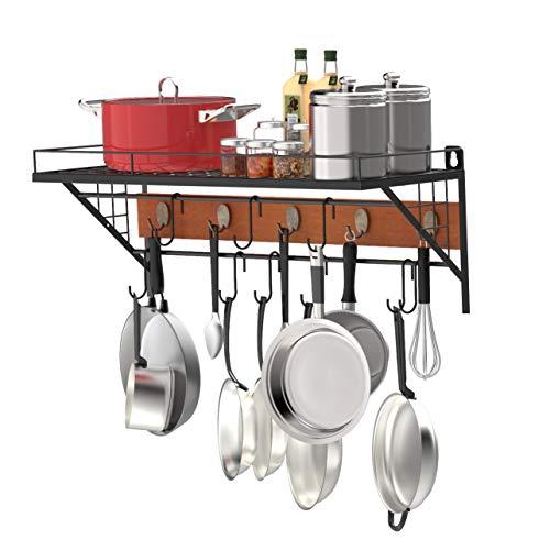 X-cosrack 27-Inch Wall Mount Pot Rack Storage Organizer2 Tier Hanging Rails with 10 Hooks for Kitchen Cookware UtensilsFloating Shelves for Home officeDIY DisplayRustproof