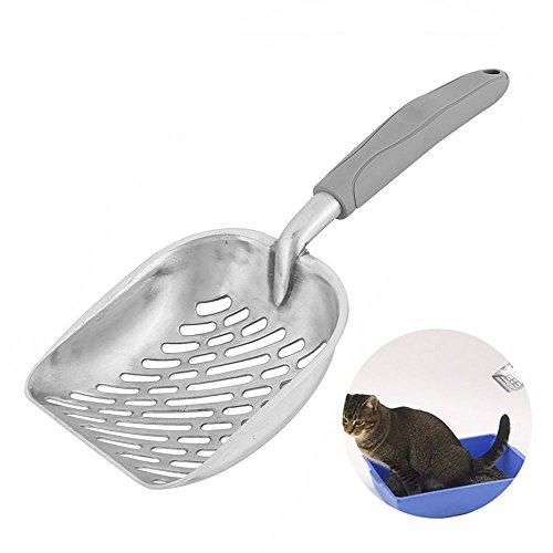 Littlegrasseu Katzenstreuschaufel Katzenschaufel Streuschaufel aus Metall mit Langem Gummigriff für Katze (Grau)