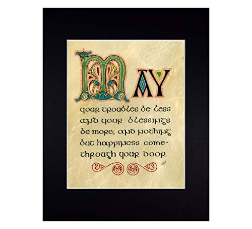 Irish Blessing in Traditional Celtic Calligraphy Fine Art Reproduction Print for Housewarming