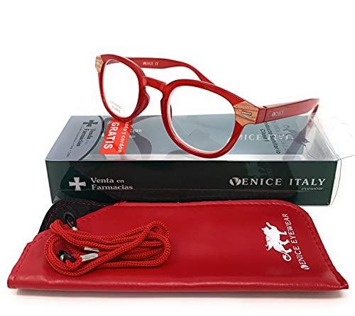 Gafas de lectura, presbicia, vista cansada, Diseño en 3 Colores. VENICE HAMBURG - Dioptrías: 1 a 3,5 (Rojo, +3,50)