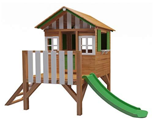 Masgames - Casetta per bambini in legno rialzato Lollipop, con scivolo abbinato, altezza piattaforma 59,5 cm, legno trattato