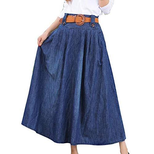 XHSSF-Falda vaquera Vestido de Cowboy, de Gran tamaño Vestido, Famoso Vestido de Mujer, con Cuerpo Falda Plisada,Azul,6XL