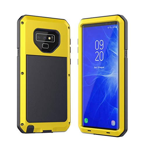 Galaxy Note 9 Case,Mangix Water Resistant Shockproof Aluminum Metal Super Anti Shake Silicone Fully Body Protection Support Wireless Charging for Samsung Galaxy Note 9-2018 Newest Released (Yellow)