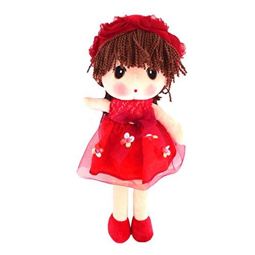 ABBY Enfant Poupées de Chiffon Poupée Princesse Mignonne en Peluche Bébé Doudou Poupon Cadeau Journée des Enfants Anniversaire Saint-Valentin Mariage Couleur Rouge Taille: 33CM