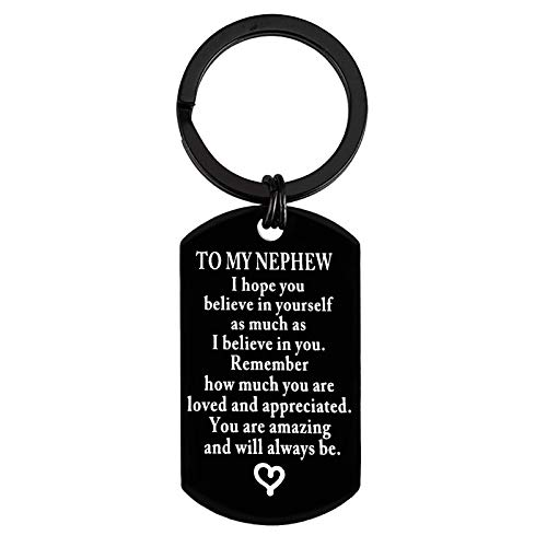 To My Nephew Keychain Inspirational Gift for Nephew from Aunt Uncle Encouragement Keyring for Nephew I Hope You Believe in Yourself Inspirational Christmas Birthday Motivational Graduation Gift