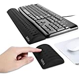 Aelfox Memory Foam Keyboard Wrist Rest&Gaming Mouse Wrist Rest, Ergonomic Design for Office, Home Office, Laptop, Desktop Computer, Gaming Keyboard (Black)