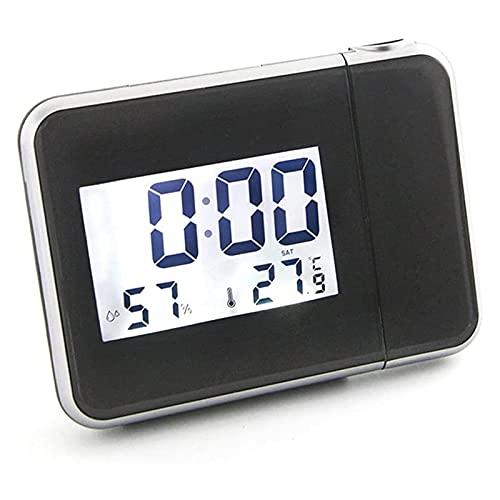HKJZ SFLRW Reloj de proyección con Pantalla de Temperatura, proyector de Techo/Pared Giratorio, Alarma Dual con Snooze, higrómetro y USB Puerto para Cargar Dispositivos adicionales - Negro