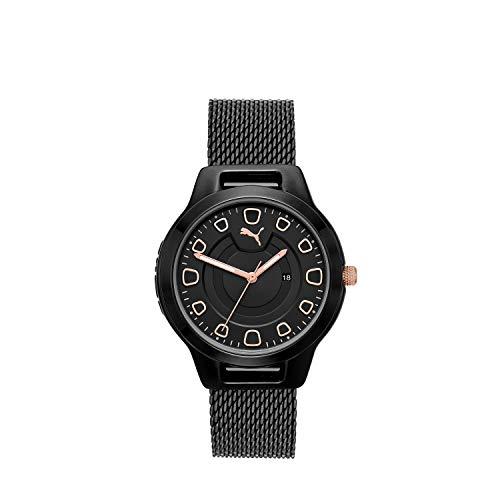 PUMA Women Reset V1 Stainless Steel Watch, Color: Black/Black Mesh (Model: P1010)