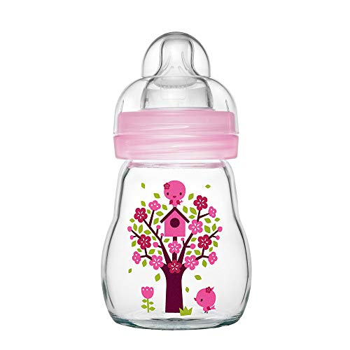 MAM Feel Good Babyflasche aus Glas (170 ml), Babyflasche mit weiter Öffnung, stabile Baby Trinkflasche mit Sauger Gr. 1, ab der Geburt, Naturmotive, rosa