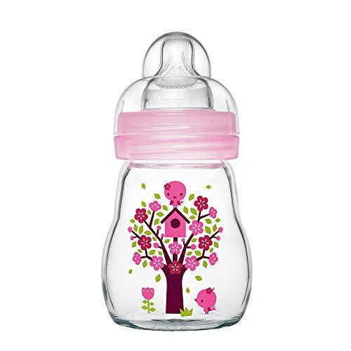 MAM Feel Good Babyflasche aus Glas (170 ml) – rosa Babyflasche mit weiter Öffnung – stabile Baby Trinkflasche mit Sauger Gr. 1, ab der Geburt, Naturmotive, rosa