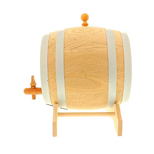 HOFMEISTER® 2 Liter Eichen-Fass, für Wein, Whisky & Schnaps, traditionelle EU Handarbeit, inkl. Anleitung, Hahn, Stopfen & Bock, Wein-Fass, kleines Holz-Fass, 21 x 20 x 23,5 cm